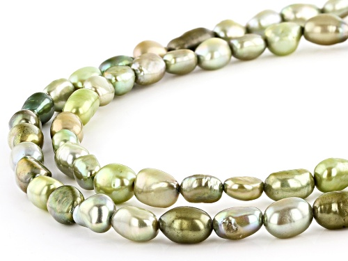 7-8mm Pistachio Green Cultured Freshwater Pearl Endless Strand Necklace - Size 64