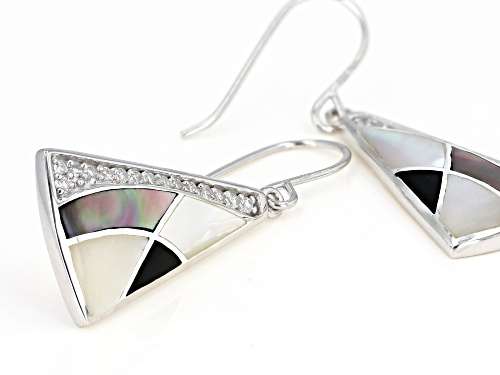 White South Sea & Tahitian Mother-of-Pearl, Onyx, & Zircon Rhodium Over Sterling Silver Earrings