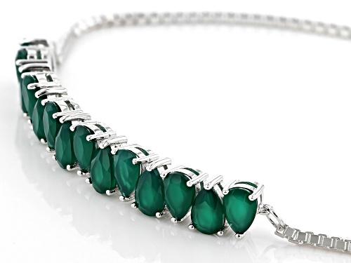 6X4mm Pear Shape Green Onyx Rhodium Over Silver Bolo Bracelet