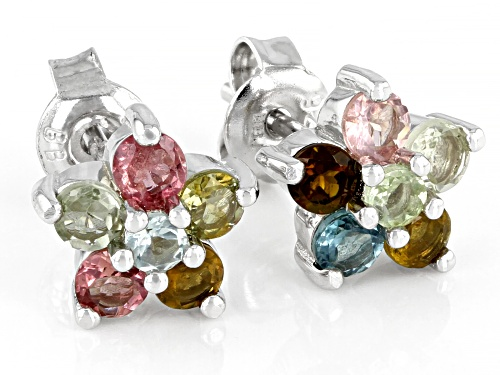 1.08ctw round multi-color tourmaline rhodium over sterling silver stud earrings