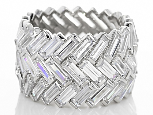 Charles Winston For Bella Luce® 16.00ctw Baguette Rhodium Over Sterling Silver Ring (11.97ctw Dew) - Size 5