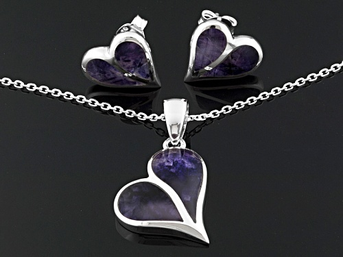 Blue John Fluorite Doublet Split Heart Ster Silver Earrings And Pendant With Chain C.W. Sellors Box