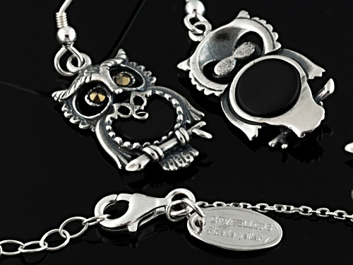 Whitby Jet 7 And 15mm Round Cabochon Ster Silver Owl Earrings And Pendant With Chain W. Hamond Box