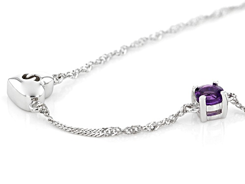 .21ct Round African Amethyst Rhodium Over Sterling Silver Heart