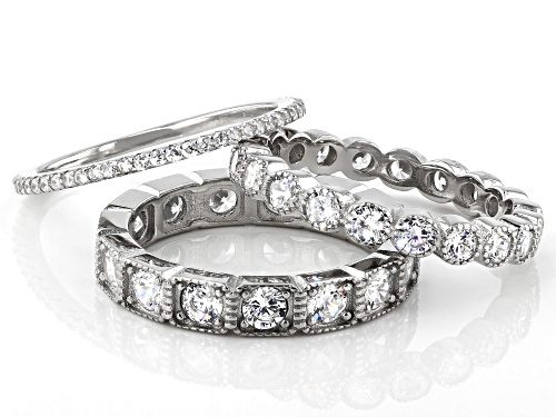 Bella Luce ® 5.10ctw Rhodium Over Sterling Silver Band Rings Set of 3 - Size 7