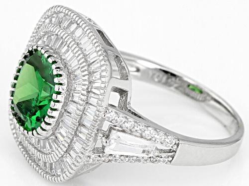 Bella Luce ® 7.67CTW Emerald & White Diamond Simulants Rhodium Over Sterling Silver Ring - Size 8