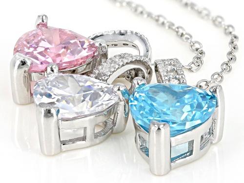 Bella Luce®8.86CTW Aqua/Pink/White Diamond Simulants Rhodium Over Silver 3 Heart Pendants With Chain