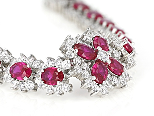 Bella Luce ® 36.21ctw Ruby And White Diamond Simulants Rhodium Over Sterling Silver Tennis Bracelet - Size 7.25