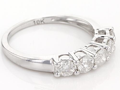 1.00ctw Round White Diamond 10k White Gold Band Ring - Size 7
