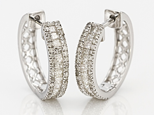 1.00ctw Princess Cut And Round White Diamond 14k White Gold Earrings
