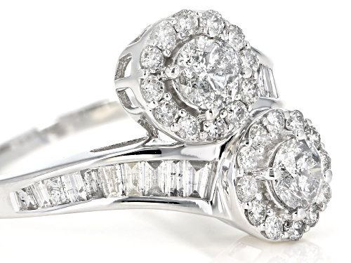1.50ctw Round and Baguette White Diamond 14k White Gold Ring - Size 7