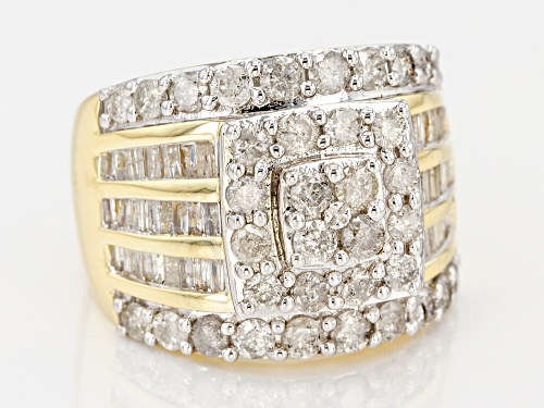 2.50ctw Round And Baguette White Diamond 10k Yellow Gold Ring - Size 9