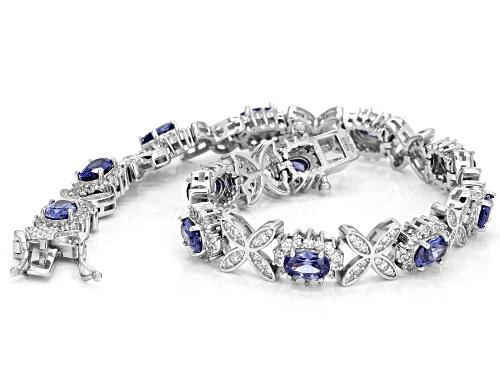 Bella Luce®Esotica™14.50ctw Tanzanite and Diamond Simulants Rhodium Over Sterling Bracelet - Size 7.5