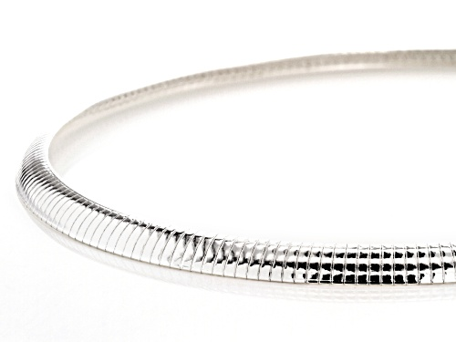 Sterling Silver 7.5MM Polished Omega Necklace - Size 20