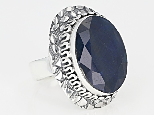 16.00ct Oval Blue Sapphire Sterling Silver Solitaire Ring - Size 7