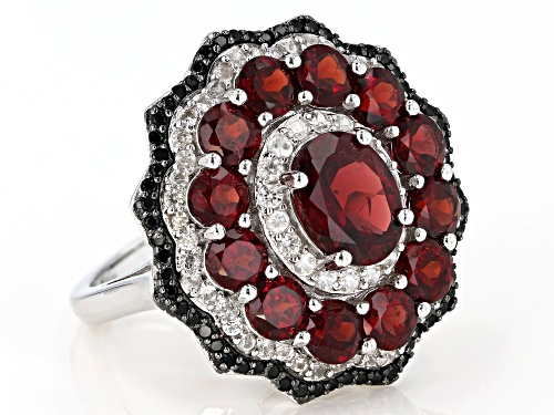 4.00ctw Garnet With 0.30ctw Black Spinel And 0.30ctw White Zircon Rhodium Over Sterling Silver Ring - Size 8