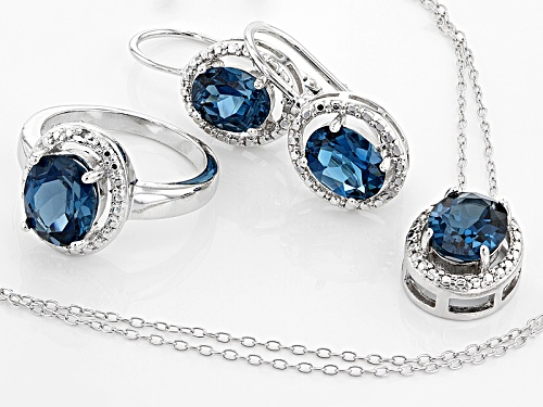11.10ctw London Blue Topaz, .02ctw 4 Diamond Accent Silver Ring, Earrings And Pendant W/Chain Set
