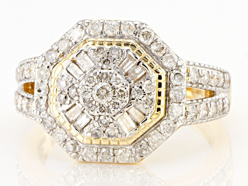 1.00ctw Round & Baguette White Diamond 10K Yellow Gold Cluster Ring - Size 7