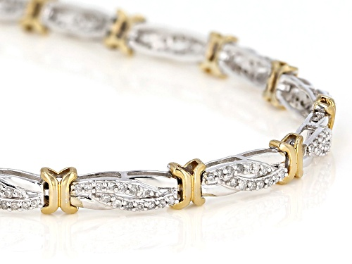 1.00ctw Round White Diamond 10K Two-Tone Gold Tennis Bracelet - Size 7.5