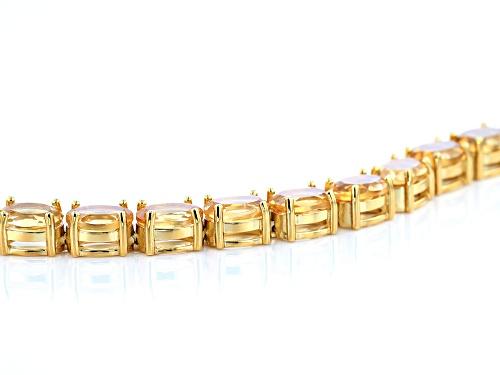 20.00ctw Oval Citrine Rhodium Over Sterling Silver Tennis Bracelet - Size 8