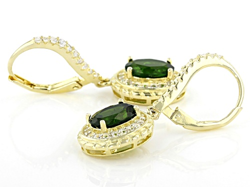 2.50ctw Chrome Diopside With 1.18ctw White Zircon 18k Yellow Gold Over Sterling Silver Earrings