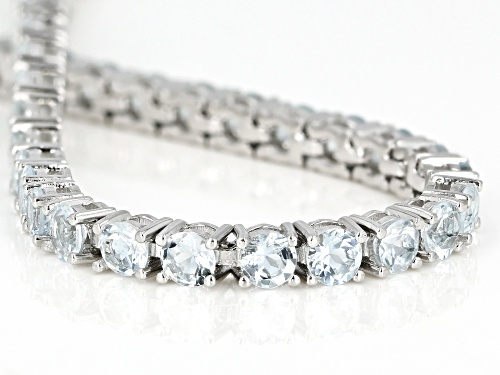11.28ctw  Round Aquamarine Rhodium Over Sterling Silver Tennis Bracelet - Size 7.25