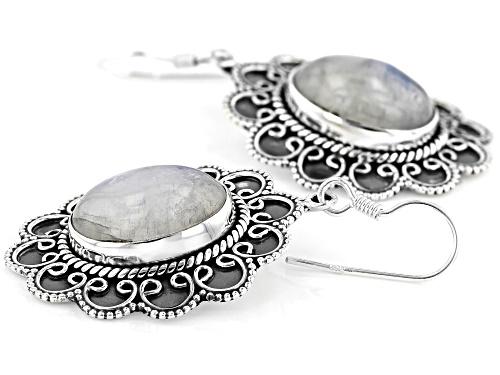 16x12mm Oval Cabochon Rainbow Moonstone Sterling Silver Dangle Earrings