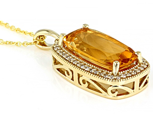 5.5ctw Rectangle Cushion Citrine With .20ctw Round White Diamond 10K Yellow Gold Pendant With Chain
