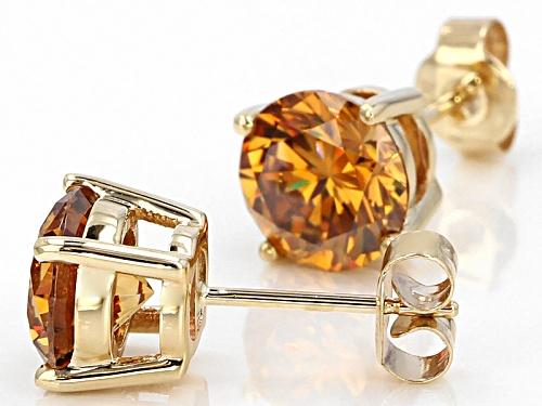 5.20ctw Round Champagne Fabulite Strontium Titanate 10k Yellow Gold Stud Earrings.