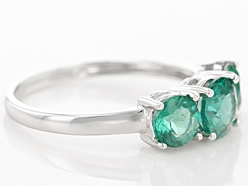 1.79ctw Round Emerald Color Apatite 10k White Gold 3-Stone Ring - Size 7
