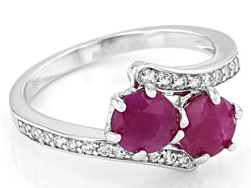 Exotic Jewelry Bazaar™ 2.04ctw Kenya Ruby And 0.20ctw White Zircon Rhodium Over Silver Bypass Ring - Size 9