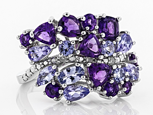 1.87ctw Amethyst, 1.40ctw Tanzanite, & .03ctw Diamond Accent Rhodium Over Silver Ring - Size 7