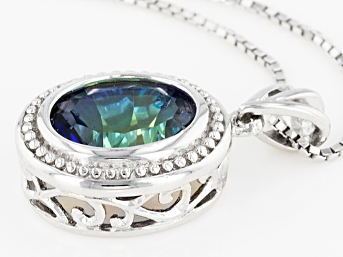 2.39ct Oval Quantum Cut(R) Blue Petalite Solitaire Sterling Silver  Pendant With Chain