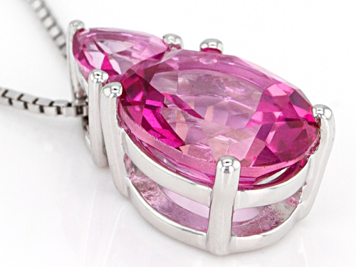 4.31ctw Oval And Trillion Pure Pink™ Topaz Sterling Silver Pendant With Chain