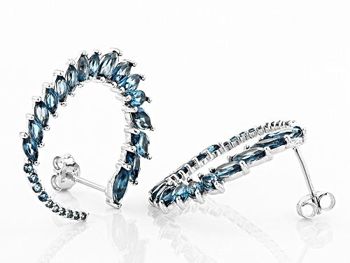 4.12ctw Marquise And Round London Blue Topaz Sterling Silver Hoop Earrings