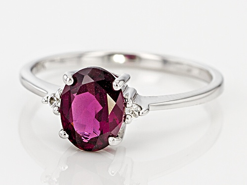 1.19ct Oval Grape Color Garnet With .03ctw Round White Zircon 10k White Gold Ring. - Size 8