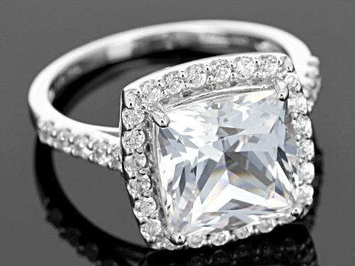 4.50ct Square Cushion Danburite With .85ctw Round White Zircon 10k White Gold Ring - Size 12