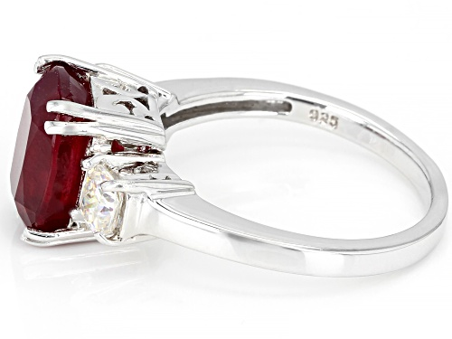 3.90ct Mahaleo® Ruby with 1.04ctw Fabulite Strontium Titanate Rhodium Over Sterling Silver Ring - Size 9