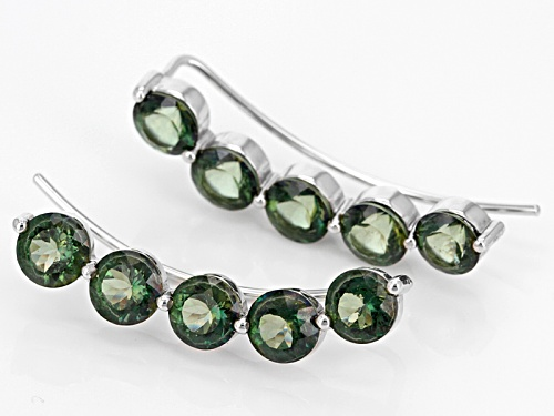 6.80ctw Round Green Labradorite 5-Stone Sterling Silver Climber Earrings