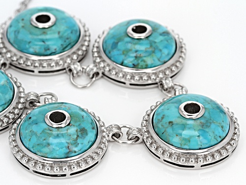 17mm Round Cabochon Blue Turquoise Sterling Silver Necklace - Size 20