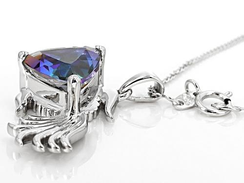 2.80ct Trillion Odyssey Blue™ Odyssey® Mystic Quartz® Sterling Silver Fish Pendant With Chain
