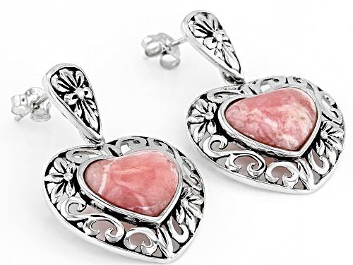 12x10mm Heart Shape Rhodochrosite Sterling Silver Dangle Earrings