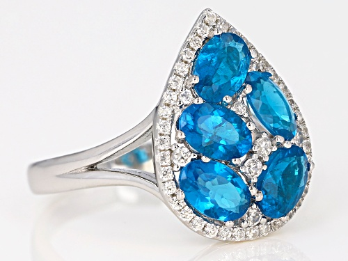 2.40ctw Oval Neon Apatite and .42ctw Round White Zircon Sterling Silver Pear Shape Cluster Ring - Size 8