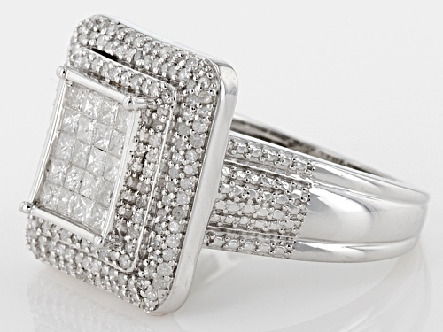1.05ctw Round And Princess Cut White Diamond Rhodium Over Sterling Silver Ring - Size 8