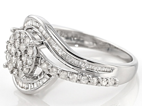 .75ctw Round And Baguette White Diamond Rhodium Over Sterling Silver Ring - Size 7