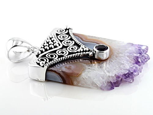 Artisan Collection Of India™ Amethyst Stalactite And 0.36ct  Round Amethyst Sterling Silver Pendant