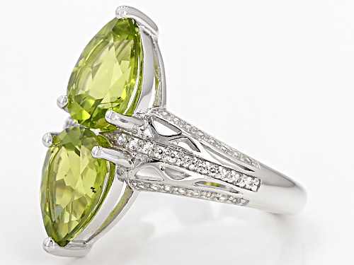 3.40ctw Pear Shape Manchurian Peridot™ And .32ctw Round White Zircon Sterling Silver 2-Stone Ring - Size 7