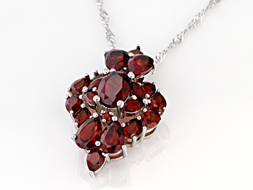 5.05ctw Mixed Shape Vermelho Garnet(TM) Rhodium Over Silver Cluster Slide With Chain