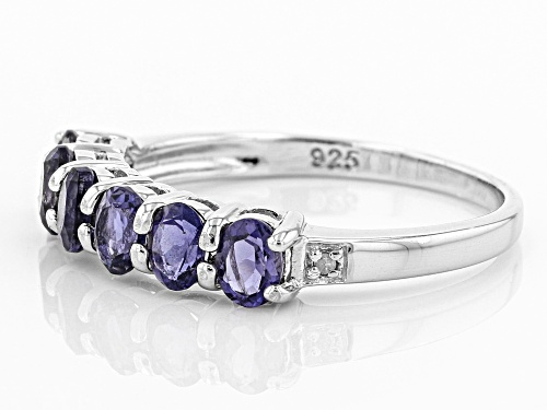 .84CTW OVAL IOLITE WITH .01CTW ROUND WHITE TWO DIAMOND ACCENT RHODIUM OVER SILVER BAND RING - Size 9