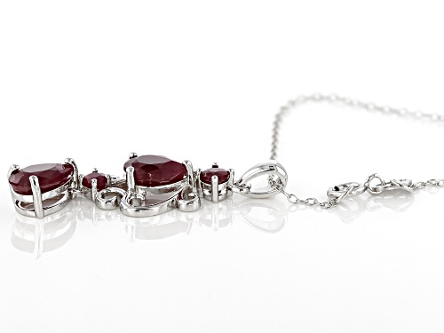 3.73ctw pear shape and round Indian ruby rhodium over sterling silver pendant with chain